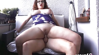Curvy Swinging Tits Teen with Glasses Fuck on Balcony German