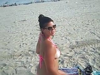 Free non nude under 18 - Crystal shows her ass and pussy on non-nude public beach