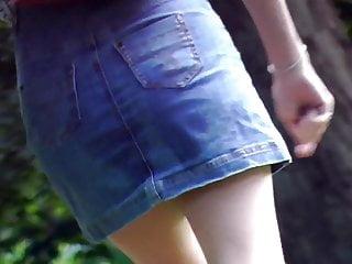 Miniskirt girls sex Upskirt no panties - blonde girl in miniskirt