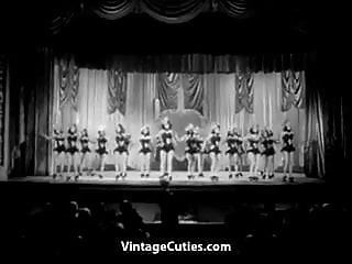 1940 nude burlesque stripper video - Burlesque girls dance on stage 1940s vintage