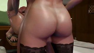 Futanari Train Story - 3D Shemale Threesome Sex in Train