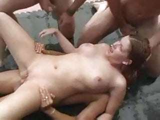 Chubby white girl gang banged - Chunky girl gang bang with 5 guys m27