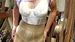 Preowned glossy 40 den pantyhose in Champagne and negligee