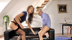 Teen girl in stockings gets fucked by an older dick