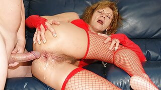 76 years old grandma's first anal