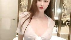 Chinese Webcam, surgery face. fake boobs, hot slut sucks cock toy