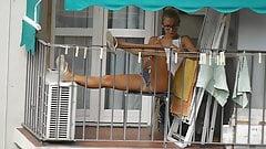 Teen neighbor on the balcony X
