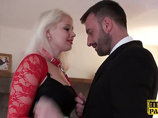 Sluts submit - Leashed british slut submited into cumswallow
