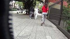 Girl in gray tight leggins