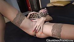 Slutty old grandma in leopard top enjoys getting stuffed