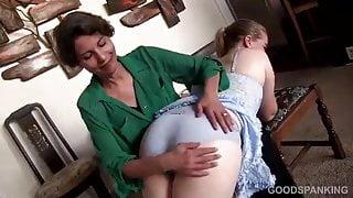 spanked in blue satin panties