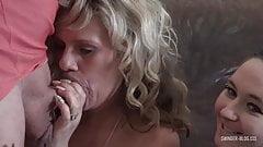 Hot amateur swinger sluts sucking cock in foursome orgy