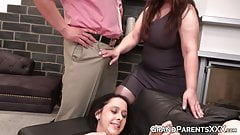Stepfamily後背位3p終了、口内精液