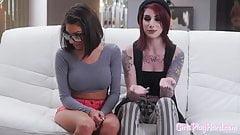 Nerdy lesbo beauty seduced by goth babe