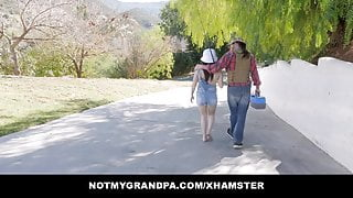 Horny Old Step-Grandpa Takes Out Innocent Gal Mia Moore