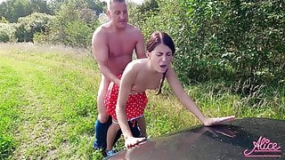Cheating Wife Fucks Outdoors with Husband's Driver