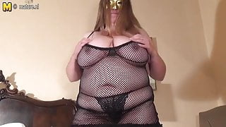 FAT Huge breasted housewife step mom playing alone