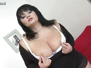 Man play with breast - Big breasted mother playing with her toy