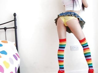 Seduction sexy - Leggy brunette in sexy socks poses seductively in her room