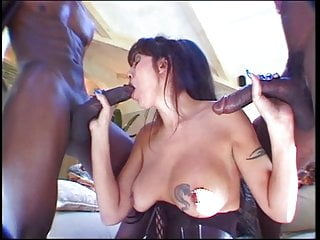 Black cocks shooting jizz - Mouthful of jizz from two black cocks for this whore