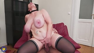 Posh mature mother on lucky stepson