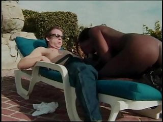 Sucking thick black cock White guy gets his thick cock sucked by black chick outside then fucks