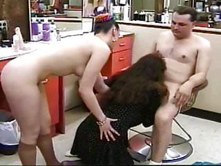 Toronto naked hair salon - Threesome in hair salon