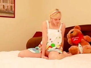 Strip tease with teddy bear - Sensual blonde tease with teddy bear dildo