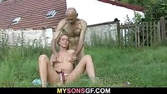 Old dad toying his son's GF pussy