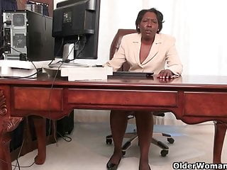 Jerk off secretary Office grannies amanda and penny strip off and play