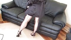 Lady Lucy in a black garterbelt and stockings