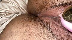 Clit sucker makes hair pussy leak