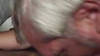 Silver haired old man likes to suck and swallow