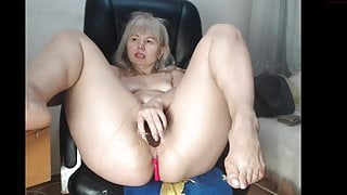 Mature Lady Fox loves her toys