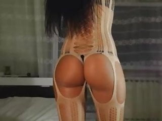 Blond long legs stocking sexy Brunette hot ass long legs plays with sucks cock