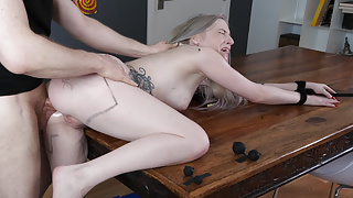 Dining room painal fuck with ATM for hot little blond