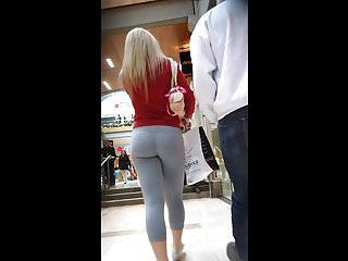 Mature aging leg skin Blonde skin tight grey leggings booty