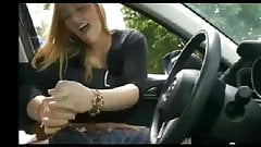 Dick massage in the car