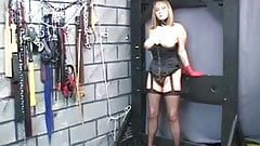 Nice plump blonde milf is bound and disciplined by an old fat guy