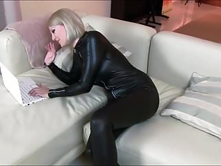 Cat doll dont pussy video ya Blonde fucked in latex spandex cat suit cum on pussy
