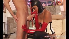 Latex chick gets long hard dick
