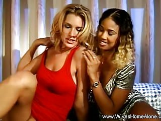 Xxx ebony milfs - Blonde and ebony milfs masturbate with toys