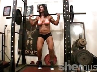 Nude small boobed woman working out Hot bodybuilder working out in gym