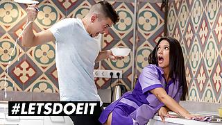 HORNY HOSTEL - Teen Maid Jade Presley Gets a Surprise Anal Fuck