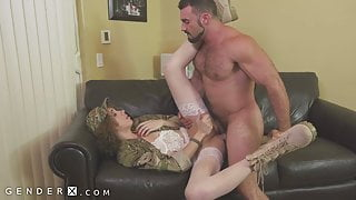 GenderX - TS Army Girl Fucked By Cis Guy