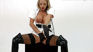 Blonde Milf masturbating in nurses outfit with leather glove