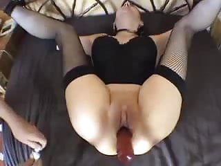 Pussie and cock Tied up amateur analized with dildo and cock