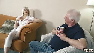 Young blonde hardcore blowjob and deep tight pussy fucking