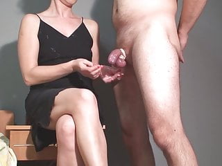 Legs video porn - Femdom handjob and 2 cumshots on legs