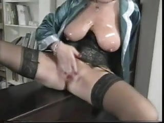 Plastic fetish girl French mature plows her pussy with plastic
